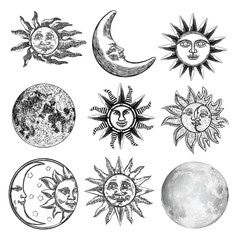Large set of different moon and sun styles. Hand drawn sketch of crescent and fool moon with human like face or planet in black and white, isolated. Detailed antique vintage style stipple drawing.