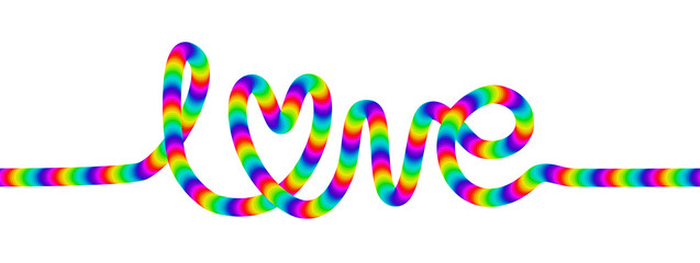 Love decorative rainbow cursive font lettering isolated on white.