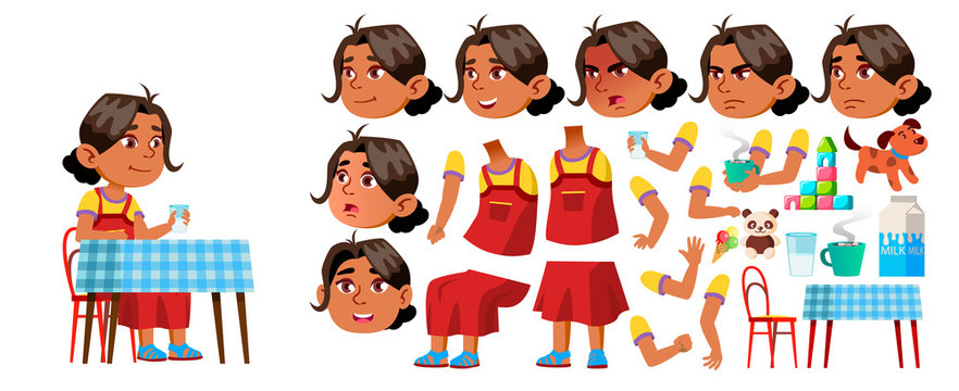Arab, Muslim Girl Kindergarten Kid Vector. Animation Creation Set. Face Emotions, Gestures. Kiddy, Child Expression. Junior. For Announcement, Cover Design. Animated. Isolated Cartoon Illustration