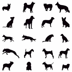 Silhouette Dog Set, Various Dog, Pet, Hound, Guard , Animal - Vector Illustration - Vector
