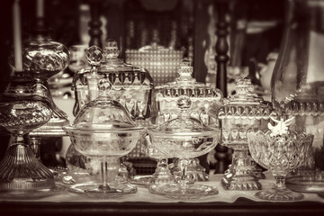 Vintage antique glassware, black and white photography