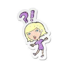retro distressed sticker of a cartoon woman asking question