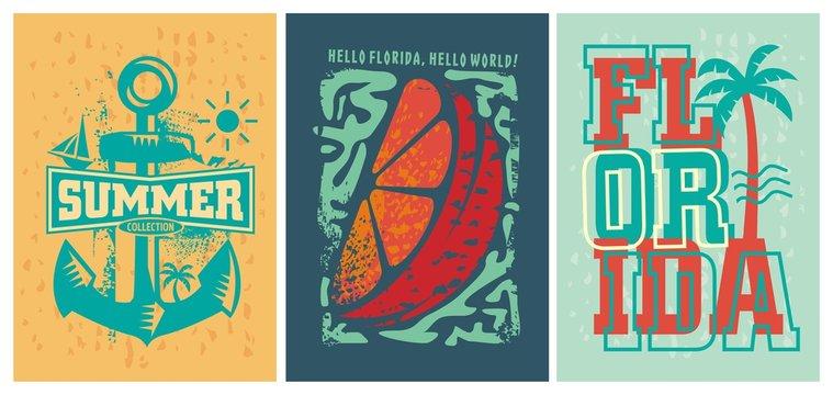 Florida beach summer apparel designs set. Distressed print templates for tee shirts. Vector illustration.
