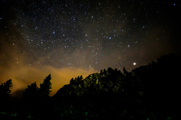 Starry nigjt on the mountains with the Milky Way and pine trees
