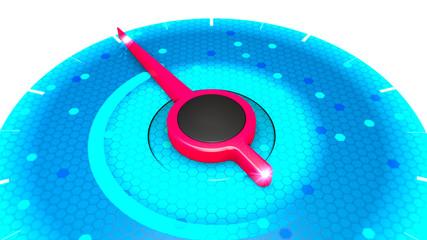 Red power indicator on blue pressure gauge, speed performance from minimum to maximum, temperature, pressure, force, 3d rendering