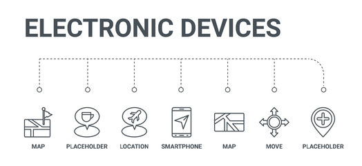 simple set of 7 line icons such as placeholder, move, map, smartphone, location, placeholder, map from electronic devices concept on white background