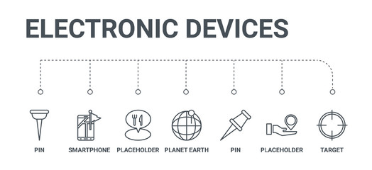 simple set of 7 line icons such as target, placeholder, pin, planet earth, placeholder, smartphone, pin from electronic devices concept on white background
