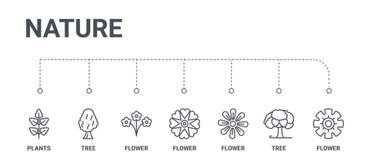 simple set of 7 line icons such as flower, tree, flower, flower, tree, plants from nature concept on white background
