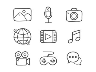 Doodle Multimedia Icons.