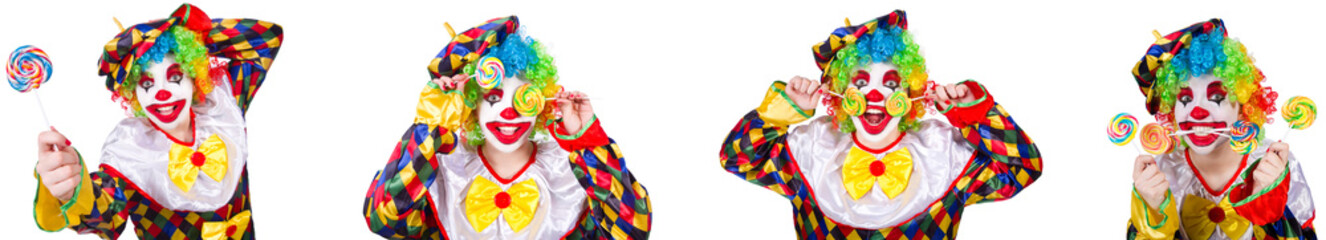 Funny male clown with lollipop  Wall mural