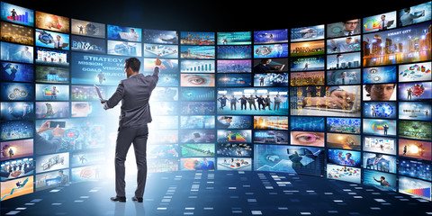 Concept of streaming video with businessman