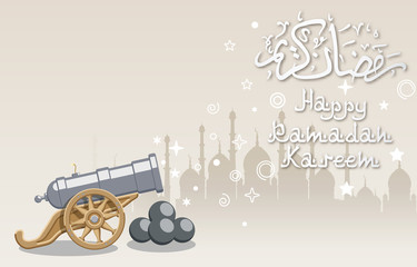 Illustration of Silhouette of Mosque and Big Cannon