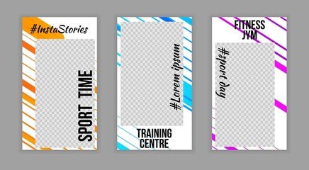 Modern trendy photo stories social network template,web online banner concepts Set.Sport life style abstract minimalistic colorful flyer poster concept,internet page,brochure templates