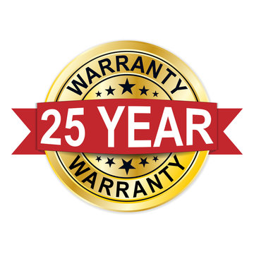 warranty 25 year golden badge seal medal