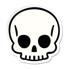 sticker of a quirky hand drawn cartoon skull