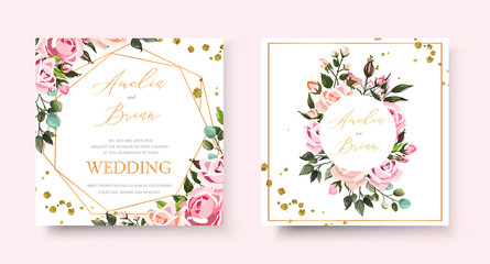 Wedding floral golden invitation card save the date design with pink flowers roses