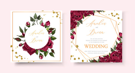 Wedding floral golden invitation card save the date design with bordo navy blue roses