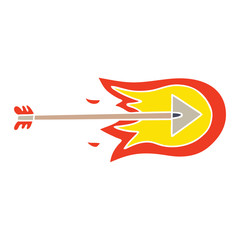 quirky hand drawn cartoon burning arrow