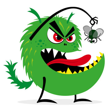 Scary green monster wants to eat a green fly, vector illustration