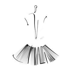 Black and white fashion sketch of a dress