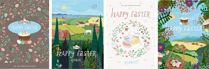 Happy easter! Set of cute vector illustrations for a poster, cover, card, invitation or banner. Congratulations on the holiday.