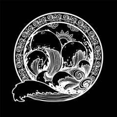 Circle emblem with storm sea. Waves, the ocean.