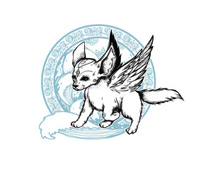 The small cute fox with angel wings. The fox running through the waves. Graphic emblem. Illustration with motion fox.