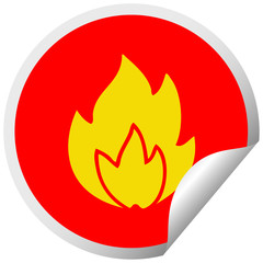 circular peeling sticker cartoon fire