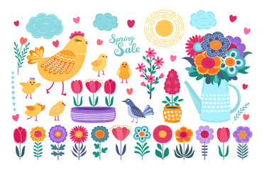 Spring set. Hand drawn flowers, birds and calligraphy on white background.