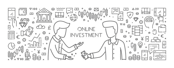 Vector line concept for online investment. Open path