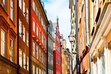 Poster de jardin Stockholm Beautiful street with colorful buildings in Old Town, Stockholm, Sweden