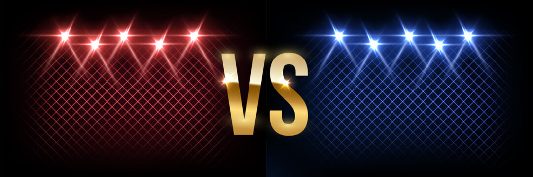 Battle vector banner concept. Girls and boys competition illustration with glowing versus symbol and spotlights. Night club event promotion. MMA, wrestling, boxing fight poster