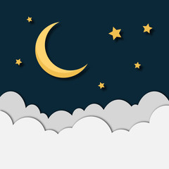 Paper moon,stars and clouds. Paper moon and stars design isolated. Vector stock.