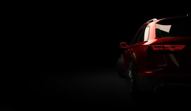 Stylish car on a black background with led lights on. Futuristic modern vehicle head light xenon on dark. 3d render