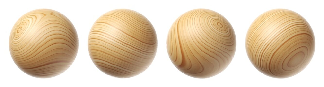 Set of wooden spheres isolated on a white background