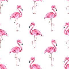 Tropical bird. Pink flamingo. Watercolor seamless pattern