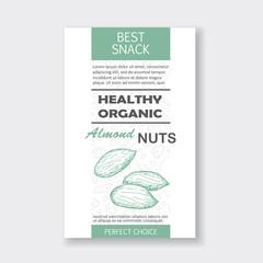 Healthy almond nut vertical label. Vector packaging design.