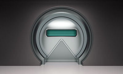 Futuristic round metallic door