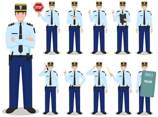 Police people concept. Detailed illustration of french policeman in traditional uniform standing in different poses in flat style isolated on white background. Flat design people characters. Vector