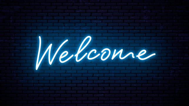 Neon inscription welcome for signboard. Vector Illustration