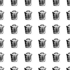 Hand Drawn seamless pattern bin doodle. Sketch style icon. Decoration element. Isolated on white background. Flat design. Vector illustration