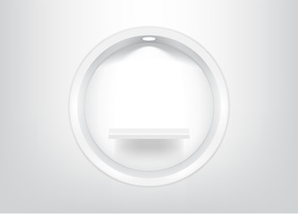 Mock up Realistic Empty Circle Shelves for interior to Show Product with light and shadow on white background illustration
