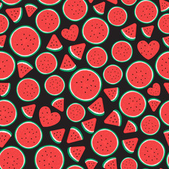 Watermelon pieces Seamless pattern surface design. Vector illustration isolated on black