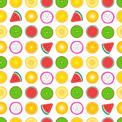 Seamless pattern of fruit slices. Vector illustration isolated on white background