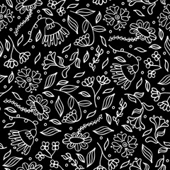 Black and white abstract seamless flower pattern. Doodle floral drawing textile design in doodle style on black background. Monochrome endless surface texture.  illustration
