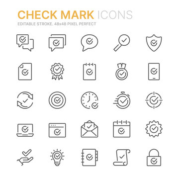 Collection of check mark icons icons. 48x48 Pixel Perfect. Editable stroke