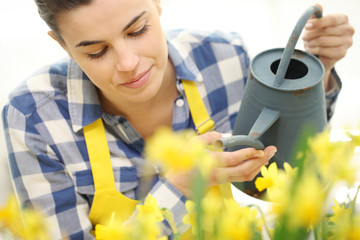 woman watering flowers at garden, spring concept