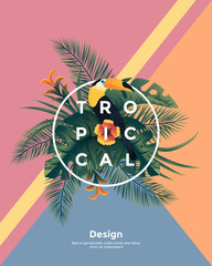Tropical background with jungle plants. Frame with tropic leaves and Toucan, can be used as Exotic wallpaper, Greeting card, poster, placard. Vector Illustration