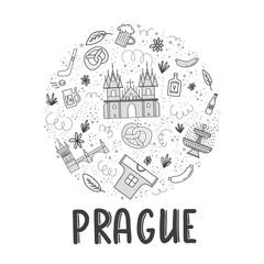 Set of vector illustration of Prague. Travel illustration with Czech landmarks.
