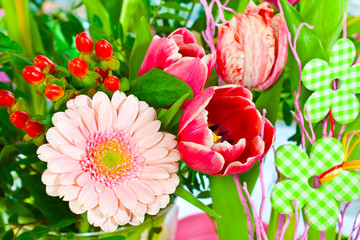 Bouquet of various flowers and decoration elements